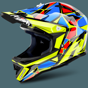 AIROH CASCO CROSS JUNIOR ARCHER YELLOW BLUE