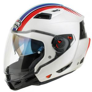 AIROH CASCO JET CROSSOVER EXECUTIVE STRIPES WHITE GLOSS