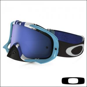 OAKLEY CROWBAR PINNED RACE BLUE WHITE -Lente Black Ice Iridium & Clear**